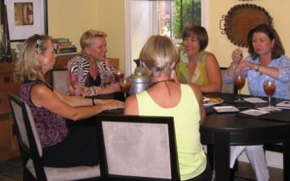 Back to camera: Melynda Whetsel. Clockwise from her left: Vicki Baumgartner, Linda Evans, Kim Trent and Jennifer Holder.