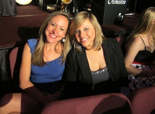Kris Budden, left, and Abby Ham of WBIR were on hand to cheer on their colleague.