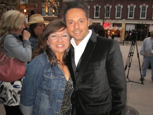 Angie Wilson and Dino Cartwright outside the party