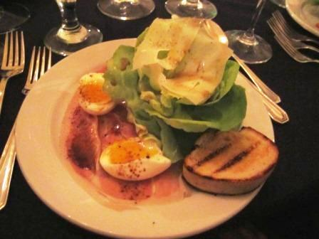 The salad course was Benton's country ham with Bibb lettuce, grilled bread, a poached farm egg and red-eye vinaigrette. It was complemented by Sparkman Cellars Lumiere Chardonnay. (I actually liked it - and I'm no chardonnay fan!)
