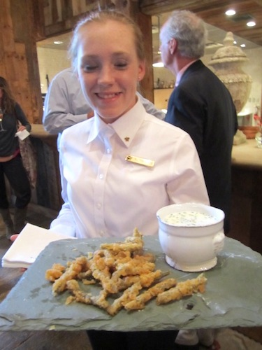 Melissa Sands passes Southern fried dilly beans with buttermilk ranch dip. Delicious.