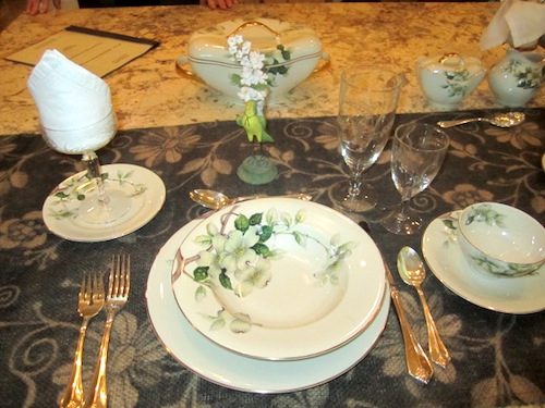 I fell absolutely in love with this antique china in the kitchen. Scott Bishop of Westwood Antiques decorated the room.