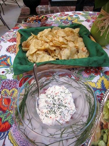 And my favorite, the Barefoot Contessa's caviar dip with gourmet potato chips. We nestled the dip in a bowl of ice to keep it cool, which worked out great.
