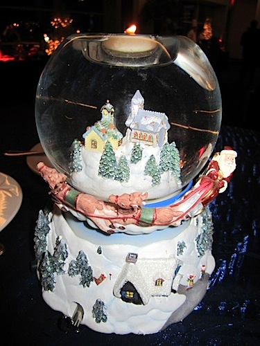 All the tables were topped with actual snow globes.