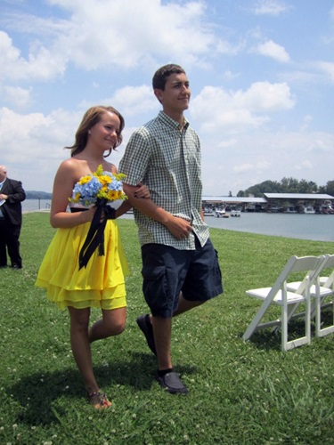 Shaun's son, Jacob, and his girlfriend, Marcella, during the recessional.