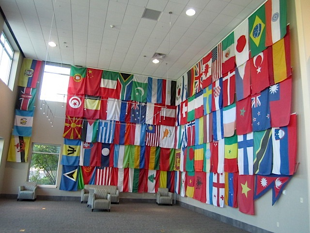 This is the so-called Court of Flags. An ORNL employee by birth hails from every nation represented by these flags. There are more than 100 of them.