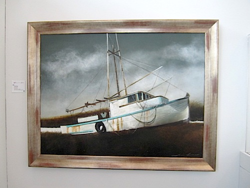 "Local artist Donna Brass produced this 40"" by 60"" oil on canvas called ""Turquoise Boat."""