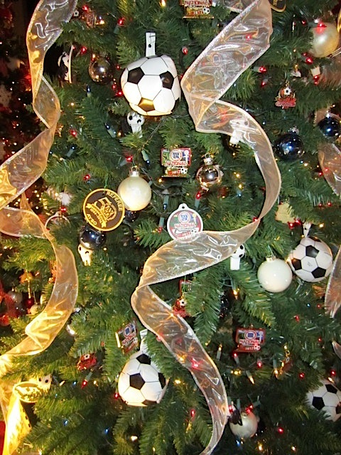 It's not hard to guess that this tree was decorated by the American Youth Soccer Organization.