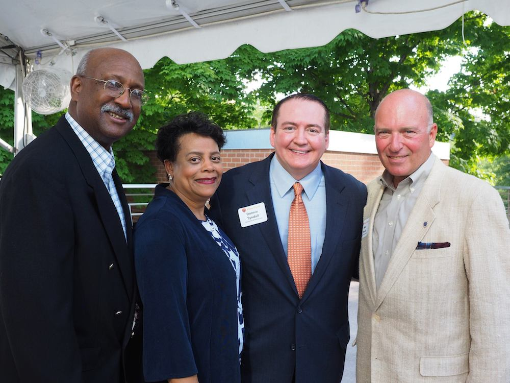 From left, City Councilman Dan Brown, Cathy Brown, Coach Tyndall and Vice Mayor Nick Pavlis. (Photo by Gary Heatherly)