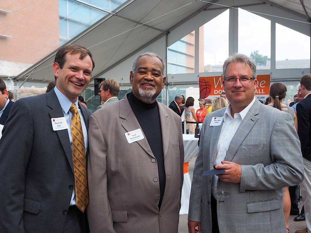 From left, City Councilman Marshall Stair, Tank Strickland and Dr. Matt Stiles.