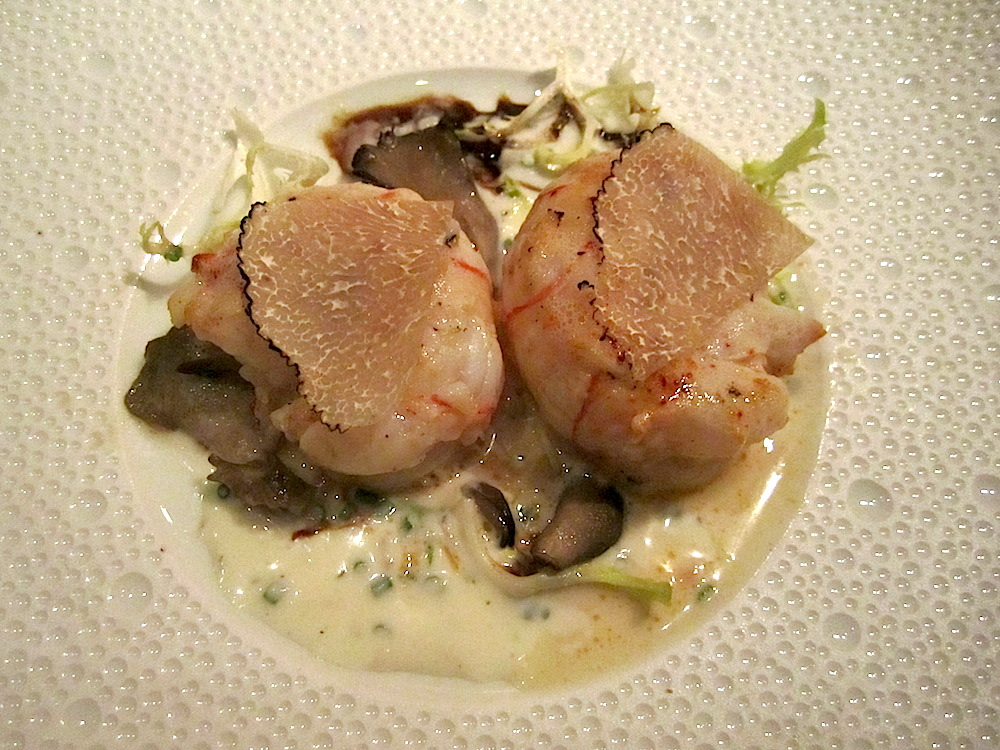 My appetizer at Le Bernadin: sautéed langoustine with truffle and wild mushrooms, and aged balsamic vinaigrette