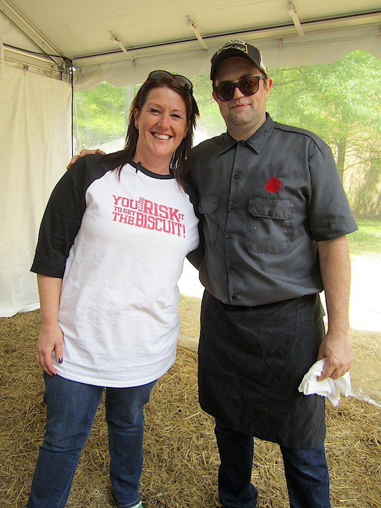 Erin Donovan of Visit Knoxville with Christopher Ford, the proprietor of Sweet P's.