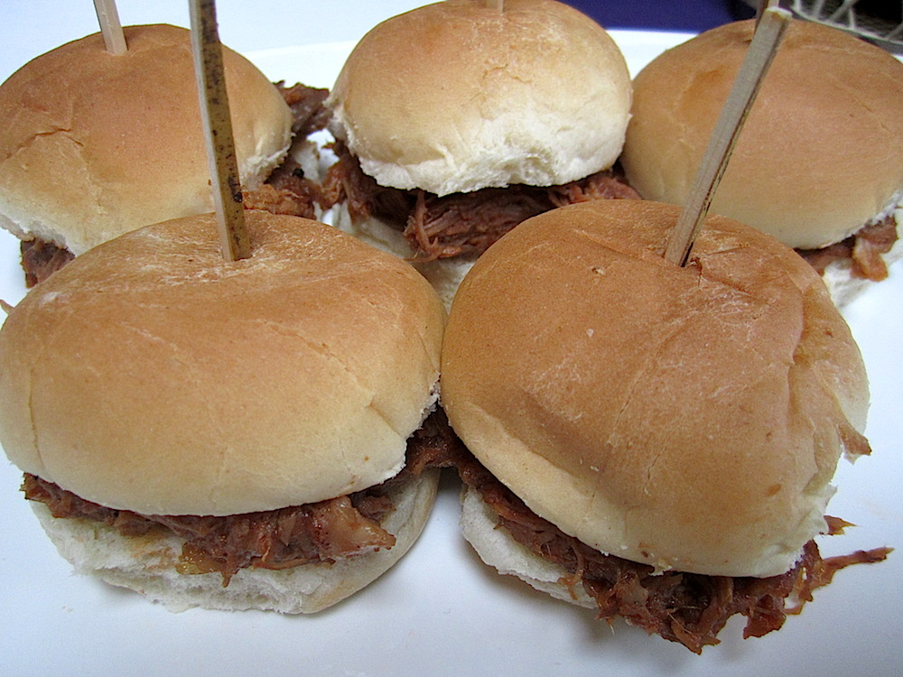 The food, provided by Knox Mason, included slow roasted Heritage Farm pork sliders with Muddy Pond sorghum barbecue sauce.
