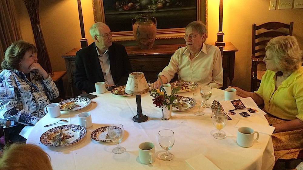 From left, me, Alan, John Cullum and Georgiana Vines at breakfast. It was a very memorable event. (Photo by David Byrd)