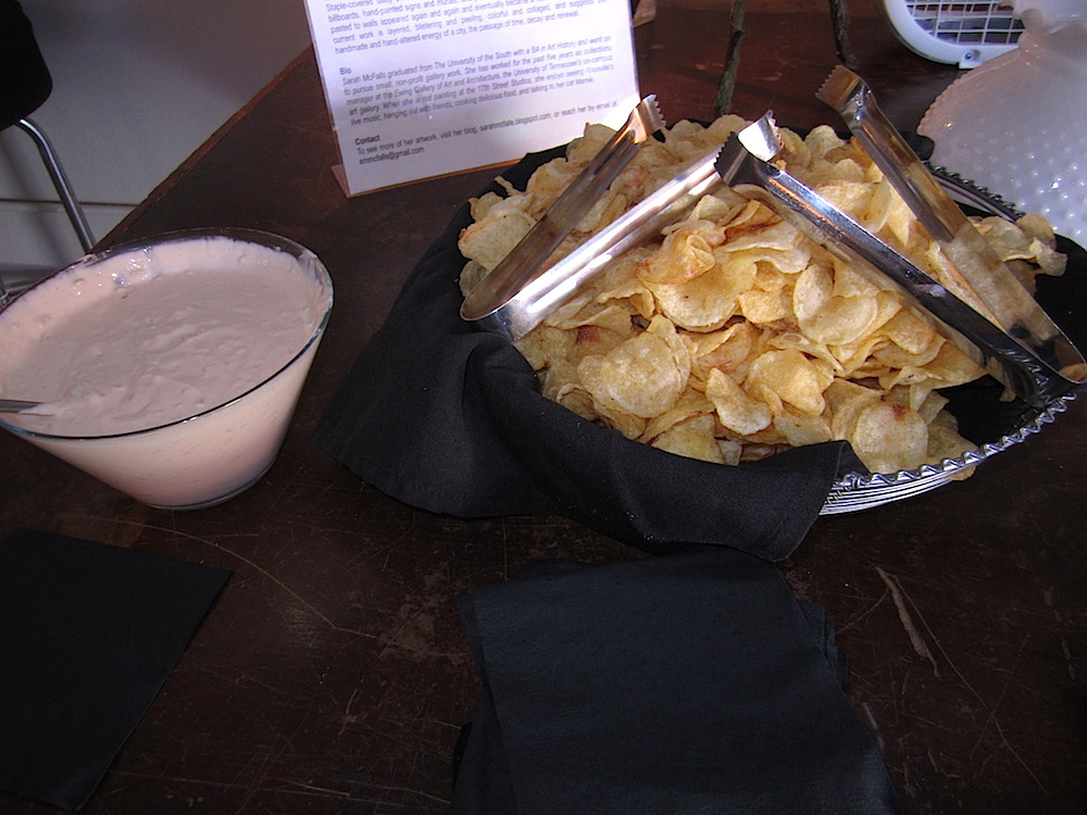 This appetizer was a delicious throwback: onion dip and gourmet potato chips.