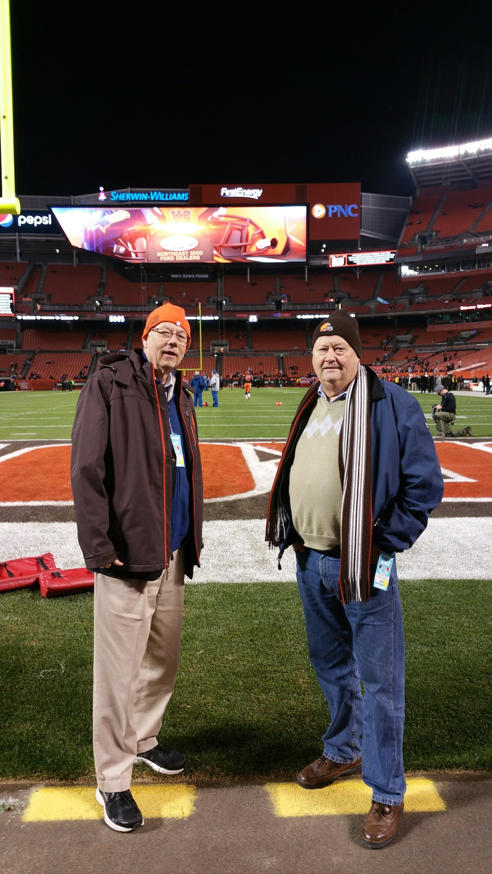 Alan Carmichael, left, and Richard Ford on the sidelines of the Cleveland Browns vs. Baltimore Ravens game.