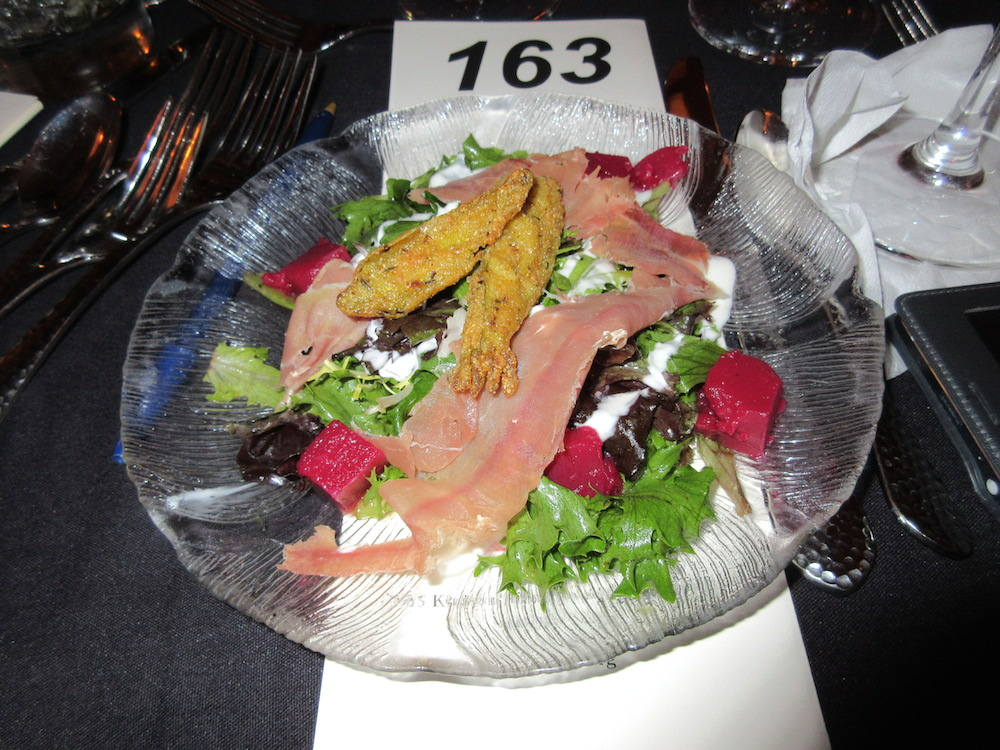 This fall salad contained apples, Noble Springs goat cheese, pickled okra croutons, Benton's country ham and red eye vinaigrette over baby lettuces. It was paired with a 2014 Ruffino Orvieto Classico.