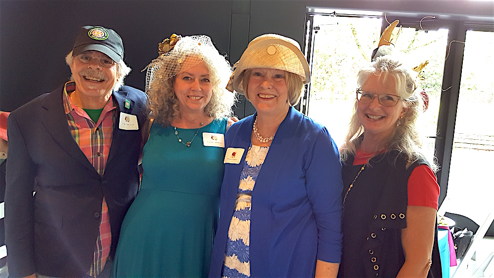 Tom Cervone, left, executive director of the Dogwood Arts Festival, was one of the few men in attendance. Here, he's with three women named Susan. His wife, Susan Creswell, beside him; Susan Farris, second from right; and Susan Arbital.