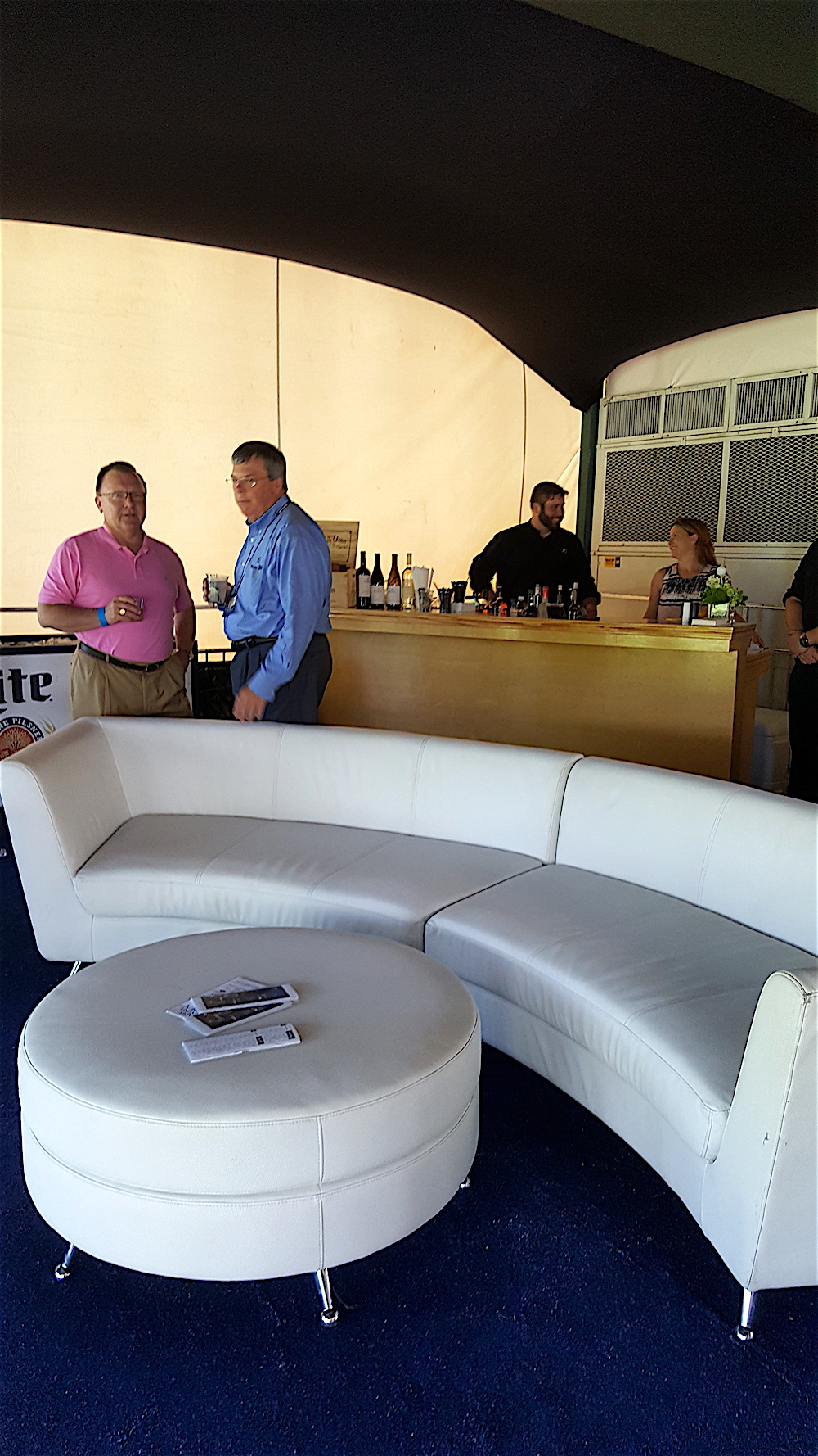 Over at Fox Den Country Club yesterday, get a load of the plush interior of the Fleming's Ultimate 100 skybox! It looks like a cocktail lounge.