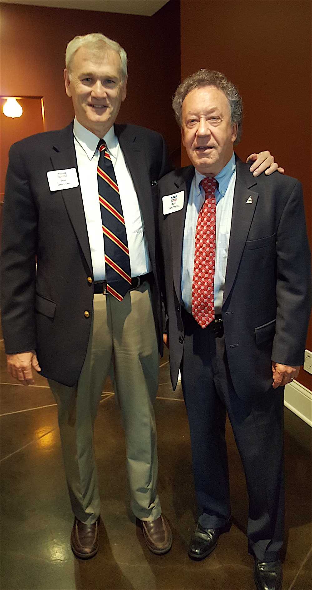 Joe Duncan, left, with Bob Griffitts, representing Massey's brother, Congressman Jimmy Duncan, who was out of the country.