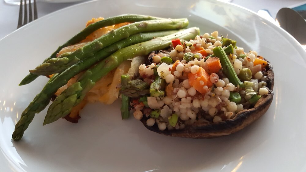 I asked for a vegetable plate, which was delicious: a portabella mushroom filled with couscous and veggies.