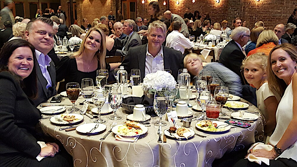 Here's the rest of her table. From left, Amy and Dan Miles, Mandy Collins, Ernie Collins, Ben Collins, Holland Harvard and Lori Harvard. Mandy and Lori are Amy's sisters.